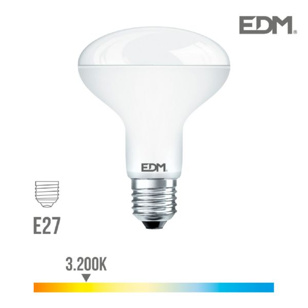 BOMBILLA REFLECTORA LED R90 SMD 12W E27 3.200K LUZ CALIDA EDM